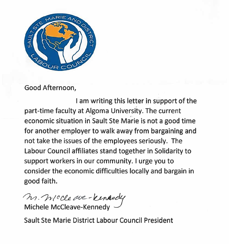 Letter of support from the Labour Council – Good Faith Letter